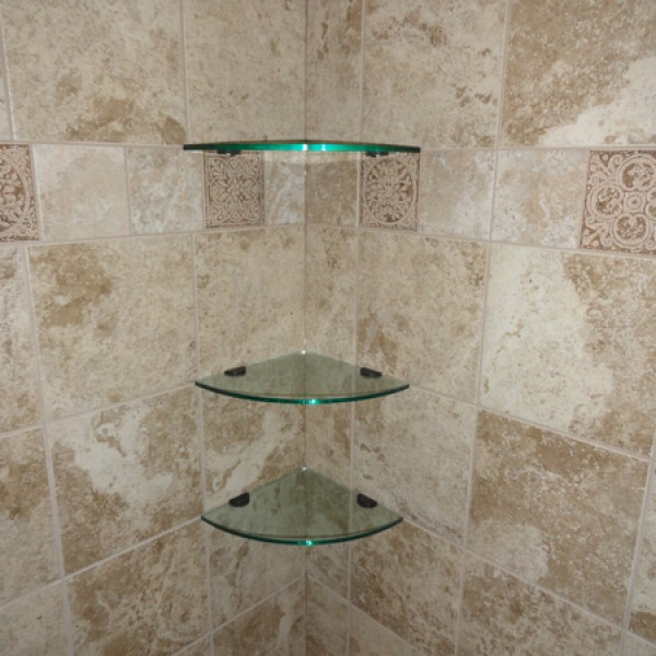 Glass corner shelves 10 inch quarter round glass tile - Bathroom glass corner shelves shower ...